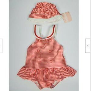 Gymboree Striped 1 Piece Swimsuit and Cap